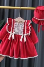 Baby Girls Plus Velvet Lace Pastoral Princess Dress