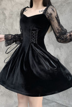 Women Vintage Lace Puff Sleeve Party Dress