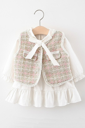 Baby Girls Plaid Lace Dress With Vest