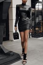 Pu Leather Mini Dress Ruched Turtleneck Bodycon Dress