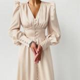 Puff Sleeve V-Neck Satin Elegant Bodycon Dress