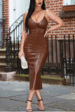 Halter Spaghetti Strap PU Leather Sexy Split Dresses