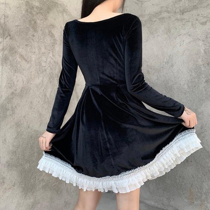 Black Long Sleeve Mini Dress Gothic Aesthetic Dresses