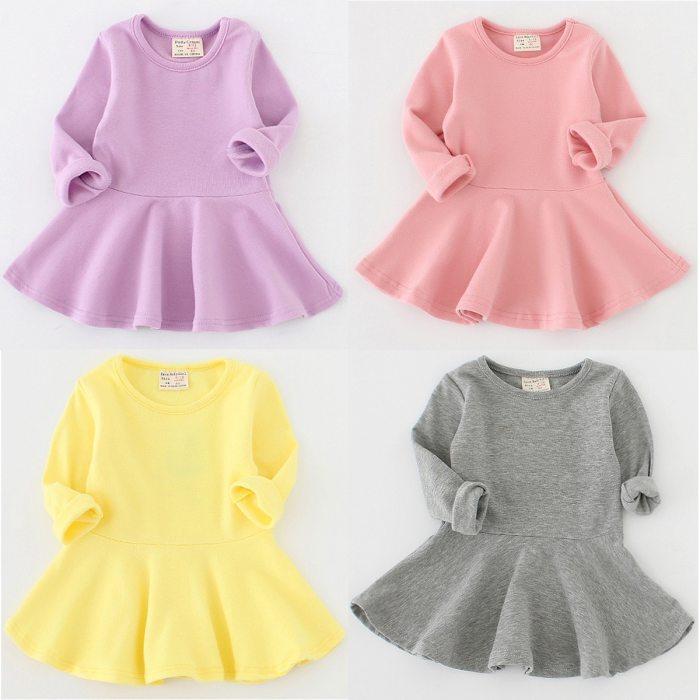 Toddler Girl Solid Color A-Line Dress