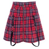 Plaid Vintage Gothic Pleated Patchwork Skirts