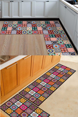 Kitchen Mat Anti-slip Area Rugs Printed Carpet Geometric Bath Mat