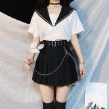 Jk Skirt Women Pleated Belt Chain Mini Skirt