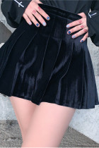 Velvet Skirt Gothic Punk Pleated Jk Skirt