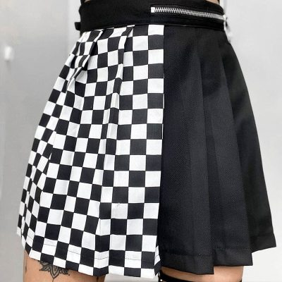 Gothic Patchwork Ribbons Pleated Mini Skirt