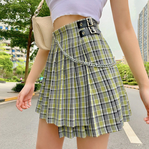 Goth Plaid Skirt Y2K Patchwork E-Girl Buckle Chain Mini Skirts