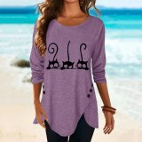 Round Neck Long Sleeve Cat Print Women's Blouses