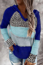 Women patchwork Hooded sweater V Neck Leopard Knitted Sweater