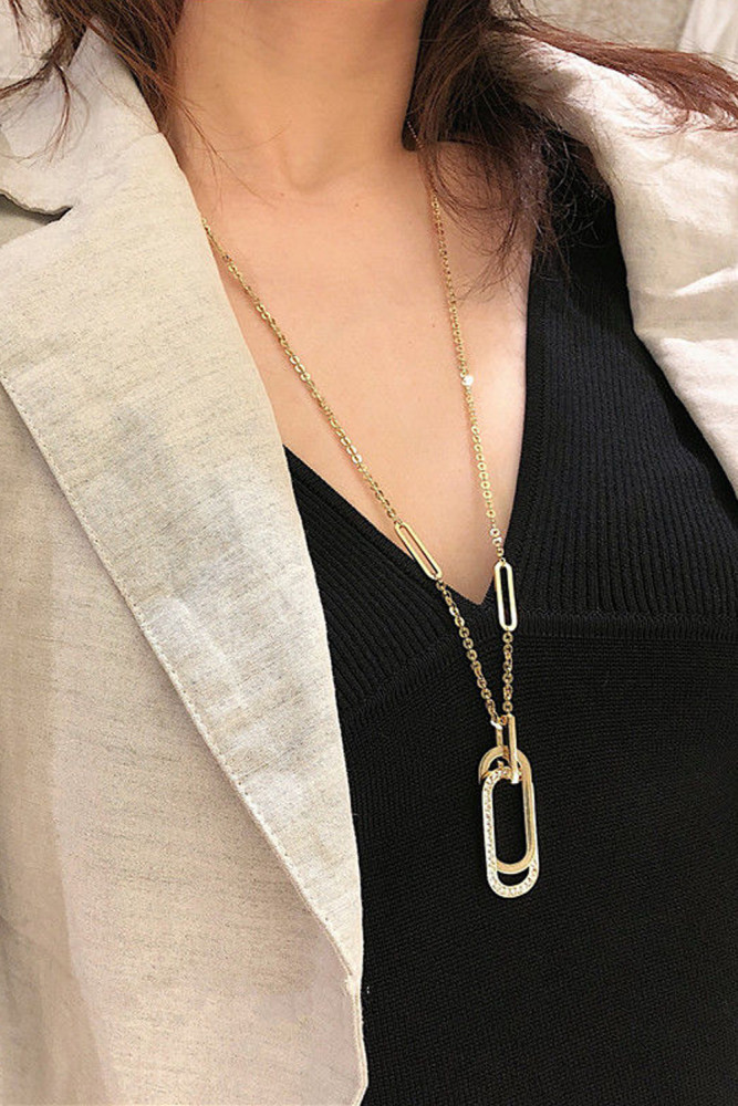 Long Sweater Chain Necklace Simple Pendant Necklace