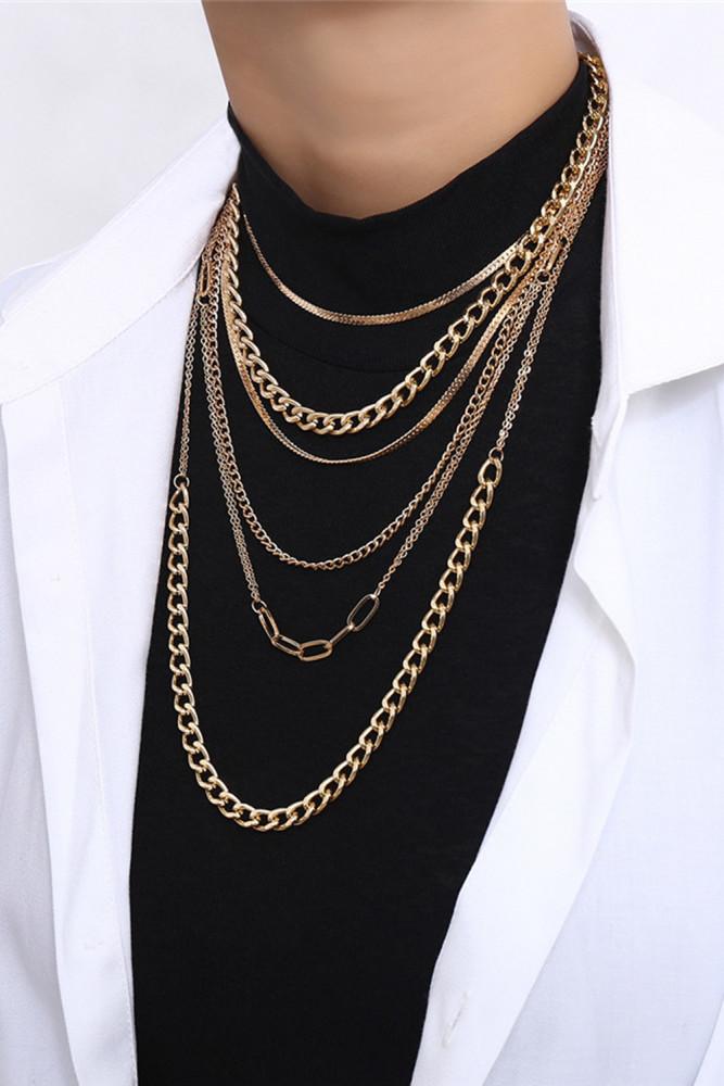 Multi Layered Tassel Snake Choker Necklace Long Chain Necklace
