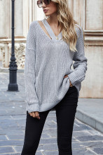 Women Knitwear V Neck Casual Pulovers Sweaters