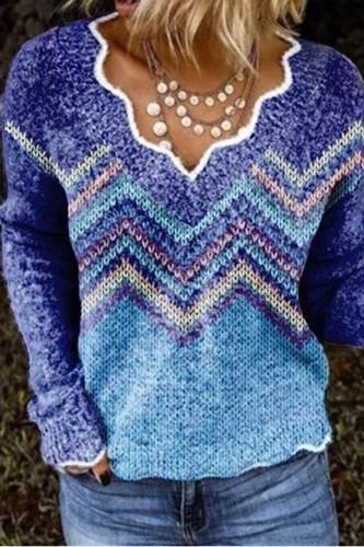 Vintage Geometric Print Sweaters Elegant V-Neck Knit Tops