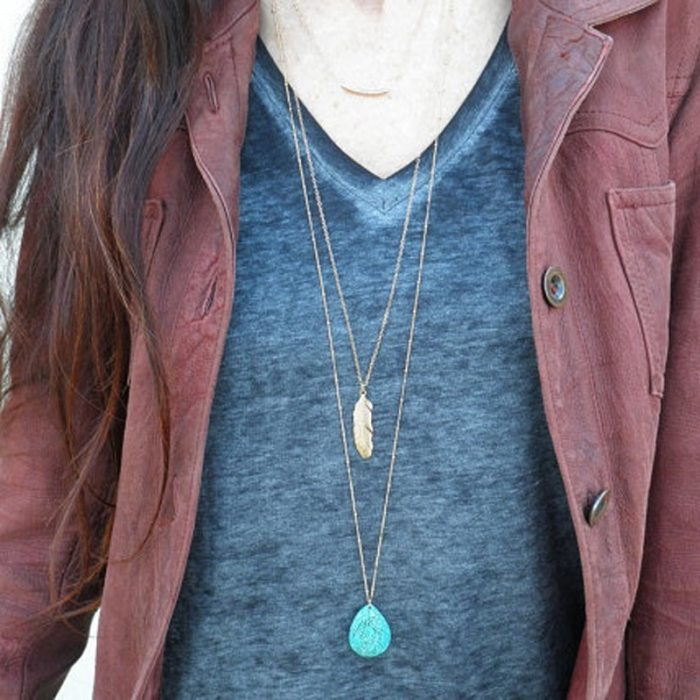 Long Pendant Necklace Green Water Drop Stone Necklace