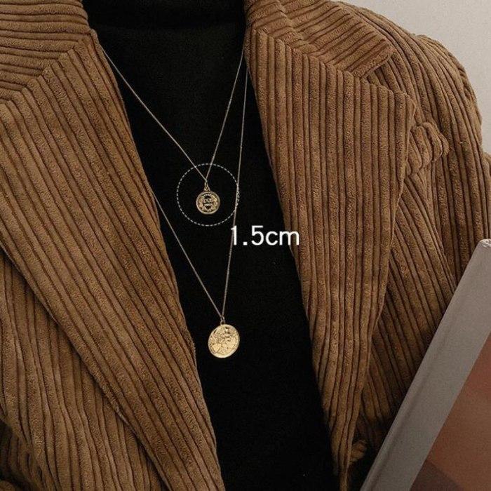 Vintage Coin Portrait Sweater Necklace Gold Long Chain Pendant Necklaces
