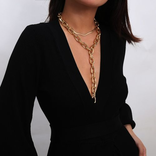 Thick Choker Necklace Chunky Snake Chain Long Necklace