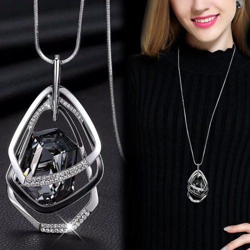Long Necklaces with Pendants Geometric Chain Necklace