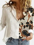 Cat Printed Lapel Long Sleeves Single Breasted Blouses