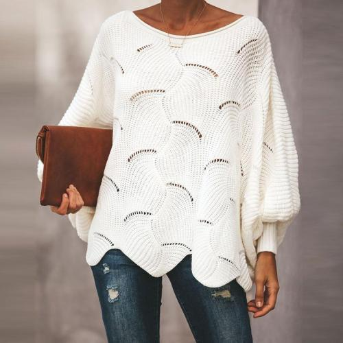 Hollow Out Sweaters Casual Knitwear Lantern Sleeve Sweaters