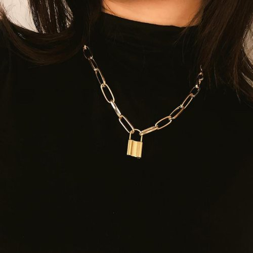 Rock Choker Lock Necklace Pendant Necklaces