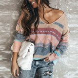 Casual Knitted Sweater Women V Neck Long Sleeve Pullovers