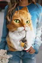 3D Cat Print Casual O-Neck Blouse Shirt