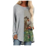 Harajuku Blouse Women Cat Print Patchwork Loose Shirt Top