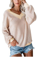 Off Shoulder Sweater Women V Neck Loose Knitted Sweater