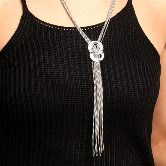 Sweater Accessories Round Circle Long Tassel Chain Necklaces