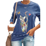 Cat Print Blouse Shirt Women Casual Long-Sleeved Pullover Tops