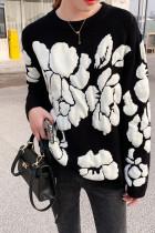 Winter Floral Print Sweater Women Knitted Pullover