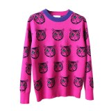 Women Cartoon Cat Print Casual Pullover Knitted Top
