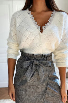 Women's Casual Lace V-Neck Long Sleeve Knitted Cardigan