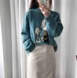 Woman Cartoon Pattern Loose Long sleeve Pullover Sweater