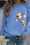 Women's Tops Cartoon Giraffe Print Long Sleeve Shirt