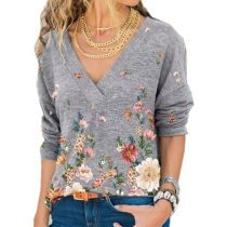 Women's V-neck Flower Print Long-sleeve Casual Loose T-shirt