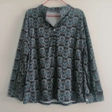 Women Leisure Casual Shirt Single-breasted Print V-neck Top