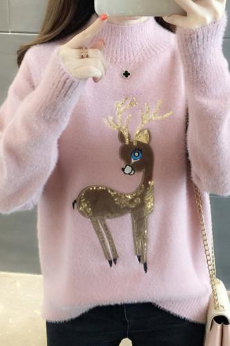 Women Cute Sweaters Fluffy Cashmere Jumper Turtleneck Pullover