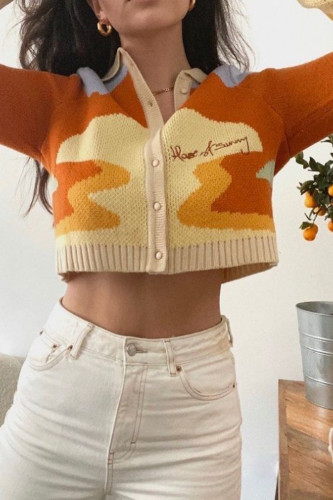Women Short Knitted Sweater Chic Single Breasted Loose Cardigans