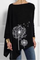 Women's Irregular Shirt Dandelion Print Casual Top