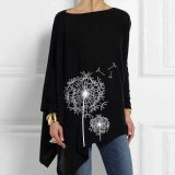 Women's Irregular Shirt Dandelion Print Casual Top