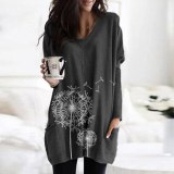 Casual Women T-Shirt Long Sleeve Tops Pocket Pullovers