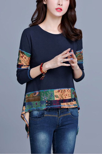 Cotton Casual Tops Irregular Patchwork Tee Shirt Tunic