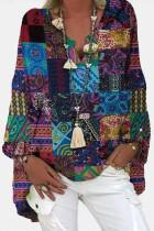 V-Neck Linen Cotton Blouse Shirts Floral Print Tops