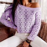 Women's V neck Knitted Jumper Pullover Hollow Out Sweater