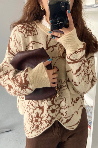 Women Irregular O-Neck Knitwear Floral Printing Sweater