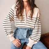 Women V-Neck Buttons Knitted Pullovers Striped Sweater